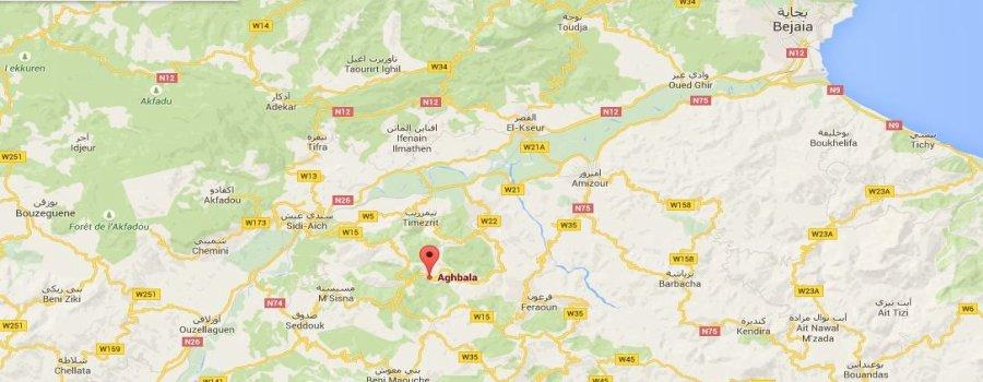 Emplacement du village Aghbala en Kabylie (Vgayet)